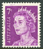 1971 7¢ Purple QEII with Plate fracture in margin at top left variety fine used. Rare. ACSC 447(l)k. 2002 Catalogue Value $350.00.