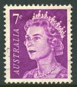 1971 7¢ Purple QEII with Recut shading across top of stamp Type 6 variety [the so-called