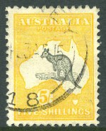 1915 5/- Grey and Yellow 2nd Wmk Kangaroo good used and well centered.