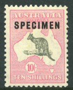 1929 10/- Grey and Pink Small Multiple Wmk Kangaroo O/P Specimen Type C MVLH and reasonably centered.