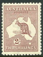 1924 2/- Maroon 3rd Wmk Kangaroo MVLH and well centered. Superb.