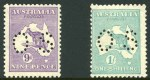 1929 9d Violet and 1/- Emerald Small Multiple Wmk Kangaroo's perforated OS, MUH and off centre.