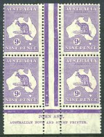 1932 9d Violet C of A Wmk Kangaroo Plate 1 first state Ash imprint block of 4, lightly hinged on top left unit and lower units MUH. ACSC 29z.