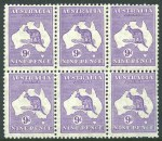 1932 9d Violet C of A Wmk Kangaroo block of 6, lightly hinged on 3 units and remaining units MUH. Centered high and lower right (MUH) unit with few short perfs.