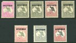 1917-24 10/- Grey and Pink, £1 Grey (2) and £2 Black and Rose O/P Specimen Type C and 1924 £1 Grey O/P Specimen Type D 3rd Wmk Kangaroo's and 1932-35 C of A Wmk Kangaroo set O/P Specimen Type D MLH. The rare 10/- Type C with White flaw before