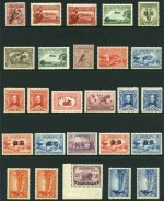 Selection of 64 MUH Pre-Decimal stamps from 1914 to 1965 including 1914 6d Claret Kooka, 1929 1½d WA Centenary perf OS, 1931 6d Brown Airmail, 1932 1/- Lyrebird O/P OS, 1932 6d Brown Kooka, 1932 2d and 3d Sydney Bridge O/P OS (2), 1934 9d Macarthur, 1937 9d NSW Sesquicentenary, 1940 3d Blue Die III KGVI and 1940 AIF set. Odd blunt perf and mixed centering.