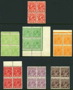 1915-23 ½d Green and Pale Yellow-Green, ½d Orange, 1d Deep Red (Aniline), 1d Violet, 1½d Black-Brown, 1½d Red-Brown, 1½d Green, 1½d Scarlet, 2d Orange and 2d Red Single Wmk KGV and 1913 1d Red Engraved KGV in MUH blocks of 4.