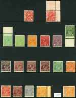 Collection of 70 MUH KGV issues including 2d Red-Brown, 3d Blue, 4d Orange (2, one with Inverted Wmk), 4d Lemon-Yellow, 4d Violet (2), 4d Ultramarine (MLH), 4½d Violet and 5d Chestnut Single Wmk, Large Mult Wmk set, ½d Orange with Inverted Wmk, 2d Red-Brown with unlisted variety Line in margin under left value tablet, 4d Olive and 4½d Violet (2) Small Mult Wmk perf 14, 3d Blue Die I and II, 4d Olive, 4½d Violet (2), 4½d Violet Die II (CTO), 5d Brown with Thin words of value variety and OS O/P set Small Mult Wmk perf 13½ and 3d Blue, 4d Olive, 5d Brown (2) and 5d Brown O/P OS C of A Wmk. Lovely fresh condition with several shade variations. Retail $3,985.00.