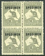 1924 £1 Grey 3rd Wmk Kangaroo O/P Specimen Type C and C1a variant (Damaged