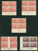 1932 2d Engraved Sydney Harbour Bridge imprint block of 4 (3), 2d Typo imprint block of 4, 1935 2d Anzac block of 4, 1936 2d Cable imprint block of 4 (5) and imprint pair set, 1938 1/4 KGVI block of 4 (4, inc 3 imprint blocks), 1948 1/6 Thin Paper Hermes imprint pair (2) and block of 4, 1963 5d Green QEII near complete Plate No 2 block 24 from booklet sheet with retouch to crosshatching from hair to oval at right state II, 1965 2/- Whistler corner strip of 3 with Break in vertical branch variety and 1965 Anzac set in blocks of 4 MUH.