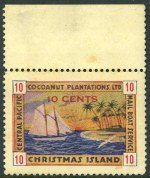 Christmas Island 1916-34 5¢ and 10¢ Central Pacific Coconut Plantations Ltd Mail Boat Service First, Second, Third and Fourth Issue set of 4 Local stamps in fine mint condition. 5¢ First Issue FU with part Coconut Palm cachet. Scarce.