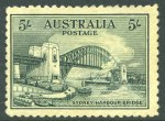 1932 5/- Green Sydney Harbour Bridge with Retouch over centre of bridge variety mint without gum and centered to left. Badly thinned, but visually attractive. ACSC 148d.