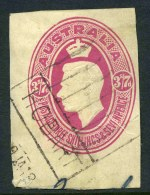 1946 3/7 Magenta KGVI Food Parcel Label cut-out on thick card and cancelled by part Hobart roller strike. Close margins.