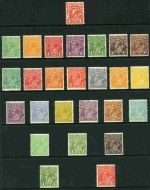 Collection of 64 different MLH KGV issues, including Single Wmk set (excluding 1d Red Die II and III and 2d Brown), Small Mult Wmk perf 14 set (excluding 3d Blue), Small Mult Wmk perf 13½ set (excluding 1d Green Die I) and C of A Wmk set including OS overprint issues. Several MUH including 1/4 Single and 1/4 C of A Wmk and 4½d Violet Die II Small Mult Wmk perf 13½ CTO. Odd minor fault, but mainly fine condition.