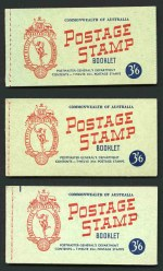 1953-56 3½d Carmine-Red Wmk QEII booklet, Wax interleaving booklet and No Wmk Wax interleaving stitched booklet MUH. No Wmk Wax interleaving booklet only listed as stapled covers with stitch holes. ACSC B57, B57v and B58v. Retail $210.00.