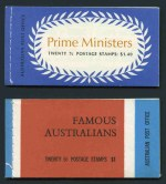 1968 Famous Aust and 1972 $1.40 Prime Ministers Wax interleaving booklets MUH. Edition No's G69/2 and G71/3. ACSC B130Ldv and B139Cv.