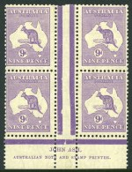 1929 9d Violet Small Multiple Wmk Kangaroo Plate 4 Ash imprint block of 4, very lightly hinged on top units and lower units MUH. ACSC 28z. Catalogue Value $500.00. [The ACSC doesn't distinguish between the Plate 3 & Plate 4 imprints. On the Plate 4 imprint there is a white nick towards the base of the left-central Jubilee Line].