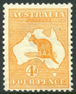 1913 4d Orange 1st Wmk Kangaroo MUH and centered to lower right.