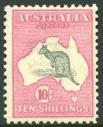 1913 10/- Grey and Pink 1st Wmk Kangaroo MVLH and centered to upper right.