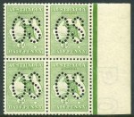 1913 ½d Green normal and perforated large and small OS 1st Wmk Kangaroo blocks of 4 MUH and well centered. (3 blocks). Lovely fresh quality.