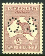 1924 2/- Maroon 3rd Wmk Kangaroo perforated OS MUH and reasonably centered.