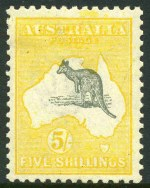 1918 5/- Grey and Deep Yellow 3rd Wmk Kangaroo MLH and well centered.