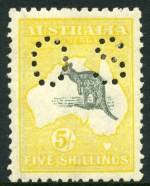 1918 5/- Grey and Deep Yellow 3rd Wmk Kangaroo perforated OS MLH and well centered.