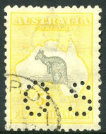 1917-18 5/- Grey and Pale Yellow and 10/- Grey and Pale Aniline Pink 3rd Wmk Kangaroo's perforated OS, CTO with gum and well centered.
