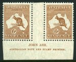 1929 6d Chestnut Small Multiple Wmk Kangaroo Ash imprint (N over A) pair MUH and reasonably well centered. ACSC 22za.