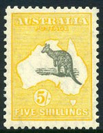 1929 9d, 1/-, 2/- and 5/- Small Multiple Wmk Kangaroo's MVLH and well centered. 1/- value MUH corner copy and centered to base. 5/- exceptionally well centered premium copy with barely visible hinge trace.