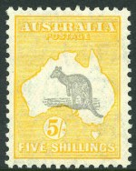 1932 5/- Grey and Yellow C of A Wmk Kangaroo MVLH and exceptionally well centered. Premium copy.