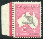 1932 10/- Grey-Black and Rose-Crimson C of A Wmk Kangaroo MUH marginal copy, centered to base.