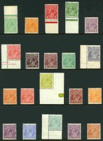1914-24 Single Wmk KGV set excluding 1d Red Die II and Die III and 4d Lemon-Yellow MUH and reasonably centered. 4d Olive lower left corner copy with Distorted S.E. corner variety.(20 stamps).