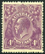 1914-24 1d Red, 1d Green, 1½d Red, 1½d Green, 2d Orange, 2d Brown, 4d Orange, 4d Violet, 4d Olive and 4½d Violet Single Wmk KGV MUH and reasonably centered. 2d Brown with White flaws right of left value tablet and through