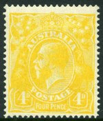 1915-23 ½d Green, ½d Orange, 1d Violet, 2d Red, 3d Blue (Type B), 4d Lemon-Yellow, 4d Ultramarine (missing corner perf), 5d Chestnut and 1/4 Blue Single Wmk KGV mint hinged. 4d Lemon-Yellow lightly hinged and well centered and 4d Ultramarine with Inverted Wmk.(9 stamps).