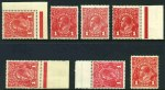 1914-18 1d Red Single Wmk KGV MUH. (7). Includes several distinctive shades. Mixed centering.