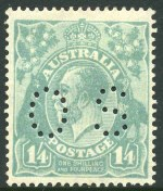 1915-24 ½d Green, 1d Red, 1d Violet, 1d Green, 1½d Red, 3d Blue, 4d Orange, 4d Violet, 4d Olive and 1/4 Blue Single Wmk KGV perforated OS MLH. 4d Orange with faint corner crease. (10 stamps).