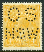 1915-24 1d Red, 1½d Red, 3d Blue and 4d Yellow-Orange Single Wmk KGV perforated OS NSW MLH.