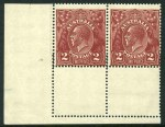 1924 2d Red-Brown Single Wmk KGV lower left corner pair MUH, additionally perforated in lower selvedge, causing partially double vertical perforations, 6mm at base of stamps. Hinged in selvedge. ACSC 97b.