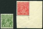 1918-24 Large Multiple Wmk KGV set including additional different shades of ½d Green and 1d Carmine and 1924 No Wmk KGV set MUH. One ½d with Flaw on King's ear variety. ACSC 65(4)k. Mixed centering.