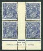 1929 3d Blue Die II Small Multiple Wmk perf 13½ KGV Ash imprint block of 4 MUH and reasonably centered. Lightly hinged in selvedge. ACSC 108z.
