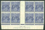 1929 3d Blue Die II Small Multiple Wmk perf 13½ KGV perforated OS Ash imprint block of 8 MUH and reasonably centered. ACSC 108z(OS).