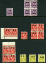 1930 2d on 1½d (17) and 5d on 4½d (5) Surcharges and 1932 2d Scarlet (11) and 4d Olive (3) O/P OS Small Multiple Wmk perf 13½ KGV MUH. Includes 2d on 1½d imprint pair with Sliced