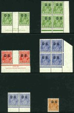 1932-33 1d Green corner block of 4 and imprint pair, 2d Scarlet imprint pair, 3d Blue corner block of 4 and pair and 5d Brown C of A Wmk KGV O/P OS MUH.