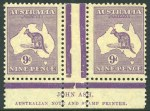 1929 9d Violet Small Multiple Wmk Kangaroo Plate 4 Ash imprint pair MUH, with evenly toned gum. ACSC 28z. [The ACSC doesn't distinguish between the Plate 3 & Plate 4 imprints. On the Plate 4 imprint there is a white nick towards the base of the left-central Jubilee Line].