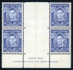1937 3d Blue Die IA KGVI MUH well centered imprint block of 4, lightly hinged in gutter. This rare imprint is in superb condition. ACSC 192z.