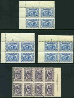 1931 3d Kingsford Smith Plate No 1, 2 and 3 corner blocks of 4 and 6d Kingsford Smith imprint block of 8 with Re-entry to