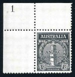 1935 1/- Anzac Plate No 1 corner copy MUH and well centered.