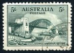 1932 5/- Green Sydney Harbour Bridge, lightly hinged CTO with gum. Centered high.