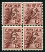 1914 6d Claret Kookaburra MUH block of 4, centered slightly to left. Lower left unit with small gum crease.